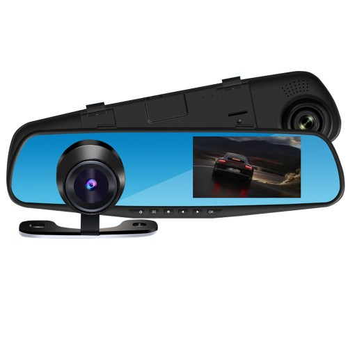 Spoguļa automašīna DVR Full HD 1080P Automašīnas DVR Full HD 1080P, Automašīnas DVR ar divām priekšējām un aizmugurējām kamerām - PZ916