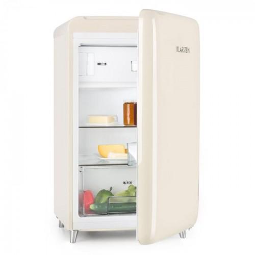 Klarstein PopArt Cream Retro ledusskapis Krējums, 108 litri, 42 dB (Transportlīdzekļu defekts ir iespiedumu veidā)